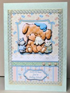 FEELING WOOF Get Well Soon Topper Decoupage on Craftsuprint designed by Janet Briggs - made by Kristina Norbat