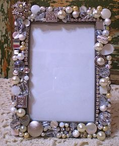 Mosaic shabby jeweled frame with vintage rhinestones and pearls