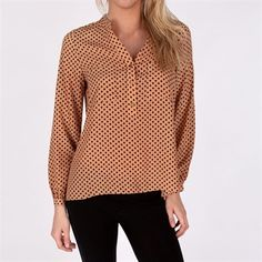 aryn K. Womens Contemporary Polka Dotted Woven Blouse