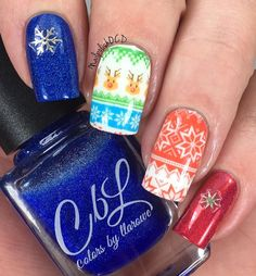 Here's my second mani using some water slide decals and some gorgeous snowflake stickers from @naildramabox I absolutely love these sweater decals! Aren't they cute?! I paired that with 2 of my favorite @colorsbyllarowe The Frenchy Klein Baron (blue) and Ben Affleck is Sheila's Homeboy (red). I'm loving this nail art box! Go get yours before it's not available anymore. #naildramabox #presssample #colorsbyllarowe #cbl #cbladdicts #sweaternails  #nailsofinstagram #nailstagram #nailsofig…