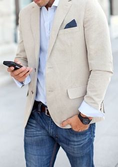 A pocket square to match your denim pants- this is the epitome of business casual at its finest.