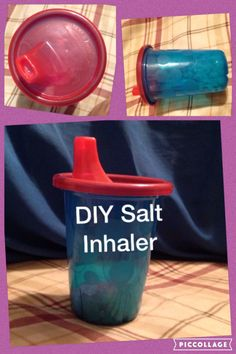 DIY Himalayan salt inhaler. I used a Take and Toss sippy cup.  Used ice pick to poke holes around the bottom perimeter, Xacto knife to widen holes in spout. Works great!