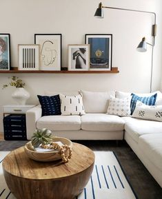 minimal living room with art ledge