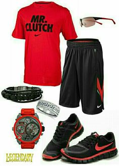 Men's fashion red black nike outfit, again, I'm good without the accessories.