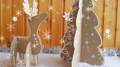 Cardboard Christmas Tree & Cardboard Deer (free pattern)