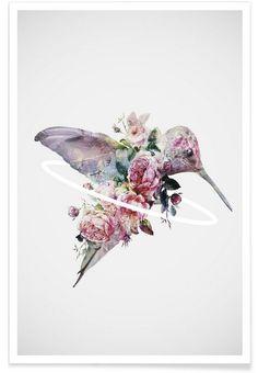 Kolibri als Poster in aluminium lijst door Dániel Taylor Tattoo Fleur, Raven Tattoo, Samoan Tattoo, Kunst Tattoos, Body Art Tattoos, Tatoos, Fox Tattoos, Anklet Tattoos, Hummingbirds