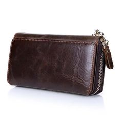 2017 New Design Fashion Genuine Leather Clutch Bags Business Men Wallets Casual Multi Slot Card Holder Vintage Purses carteira