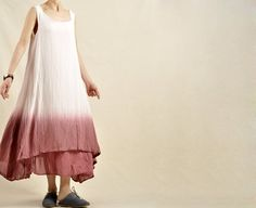 Fashion Women Dark Red Gradient Double Layer Maxi Sundress Cotton Linen Summer Sleeveless Dresses Loose Fit Party Dress Travel Line Clothing on Etsy, $69.00