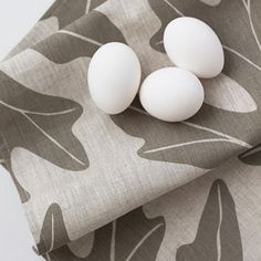 Oak Leaf Linen Tea Towel in Slate $20