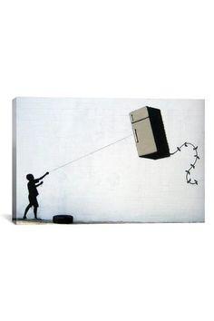 Banksy Fridge Kite 18in x 12in Canvas Print