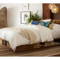 Vintage Fir Storage Bed - Reclaimed Wood   VivaTerra