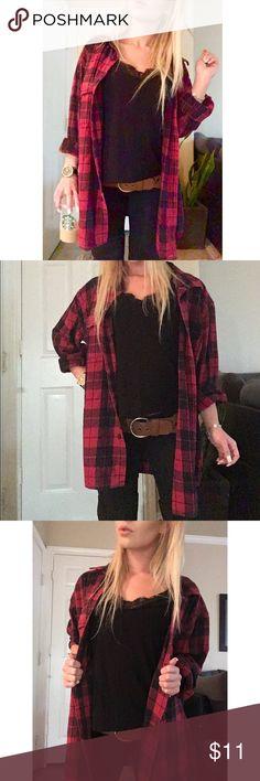 Women\u2019s extra small xs vintage red and black button up long sleeve flannel shirt dress grunge punk thrash metal hip hop skater plaid tartan