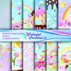 20 % OFF SALE Pastel Candy land Digital Papers, Sweets Scrapbook Papers, Candy and lollipops Digital Images, Personal & Commercial Use Monster High Birthday, Ninja Turtle Birthday, Ninja Turtle Party, Slumber Party Games, Pastel Candy, Carnival Parties, Carnival Birthday, Birthday Parties, Cute Candy