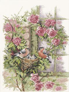 Nesting Birds in Rambler Rose Cross Stitch Kit By Lanarte