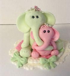ELEPHANT CAKE TOPPER Fondant baby shower cake by EdibleSugarArt, $35.00