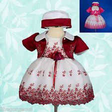 White Embroidery Flower Girl Dress Bolero Wedding Bridesmaid Baby Sz 6-24m FG201