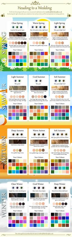 INFOGRAPHIC: Spring, Summer, Autumn, & Winter Color Analysis. For a detailed colour analysis for your skin tone, please contact me at www.facebook.com/TransformImageConsulting or www.mypersonalbrand.com.au With each analysis, you receive your very own personalised colour swatch containing 50 colour chips of your best colours as well as the psychological effect of each colour.