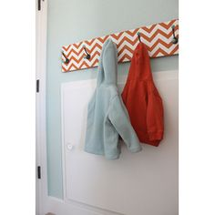DIY Chevron Hook Rack   Could also be done with weathered barn wood & vintage hooks