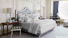 MAKE YOUR BED WITH ALL-WHITE LINENS Dress your bed in all white for the summer. It's like floating on a cloud. In this dreamy white Hamptons bedroom decorated by Noel Jeffrey, the bed is upholstered in Christopher Hyland fabric and flanked by a pair of night tables that came with the house. Bed linens from Frette.