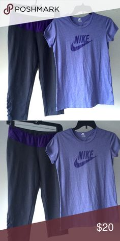 BOTH ITEMS INCLUDED!! Lighting kinda stinks I'll try better again with better lighting if need be but CAPRIS ARE DARK GREY AND PURLE AND THE SHORT SLEEVE IS LAVENDER AND PURLE.. Both flawless... Shirt I might've work once or twice!  BOTH SIZE MEDIUM ! Nike Tops Tees - Short Sleeve