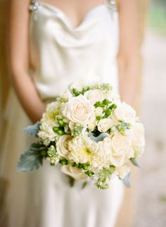 Creamy yellow roses and peonies: http://www.stylemepretty.com/2015/04/14/20-pastel-bouquets-for-the-bride/