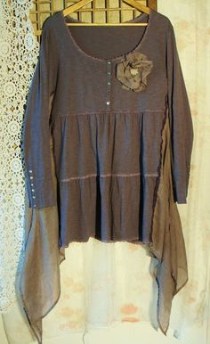 repurposed+clothing | ... ways....Plus size 2xl lagenlook tunic made of repurposed clothing