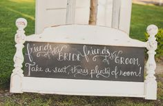 DIY Chalkboard headboard sign #wedding, just cut the extra part at the bottom off.