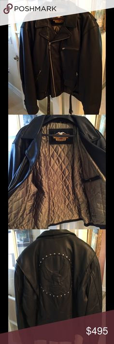 GENUINE LEATHER HARLEY- DAVIDSON JACKET, men's Perfect condition! Purchased at Harley Dealer. Moved to Florida, no need for it anymore. Worn VERY few times!! Quilted insulated lining. Harley-Davidson Jackets & Coats