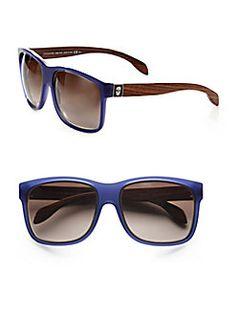 Alexander McQueen - Wood Accented Plastic Rectangular Sunglasses