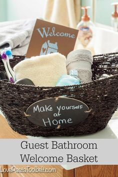Help your guests feel more at home with this Guest Bathroom Welcome Basket!- Love, Pasta and a Tool Belt #ad #CraftedExperience | welcome basket | guest ideas | gift ideas | DIY ideas | Craft ideas | Crafts |