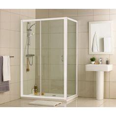 Aqualux Crystal Slider Enclosure - White - 1200 x 760mm