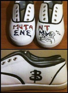 Buffy the Vampire Slayer BTVS custom hand-painted Mutant Enemy canvas shoes. $75.00, via Etsy.