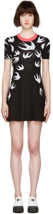 McQ Black Wool Jacquard Swallows Dress