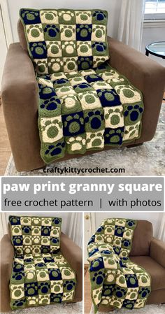 How to Crochet a Paw Print Granny Square for Blankets, Afghans, and more - FREE Pattern! - How to Crochet a Paw Print Granny Square for Blankets, Afghans, and more – FREE Pattern! Granny Square Häkelanleitung, Granny Square Crochet Pattern, Crochet Squares, Crochet Granny, Free Crochet, Granny Squares, Quick Crochet Blanket, Crochet Motifs, Afghan Crochet Patterns
