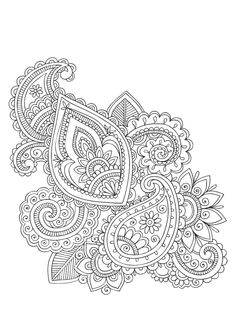 Paisley Swirls - Free Adult Coloring Coloring Page