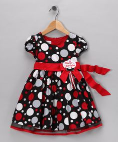 Take a look at this Red & Black Polka Dot 'Happy Birthday' Dress - Toddler & Girls by Allison Ann on #zulily today!