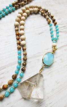 Jade Jaspis Rutilquarz Whitewood  Kette Mala Necklace turquoise türkis braun…