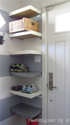 floating shelf for mail, inside door, if table too large--Ikea Hack: Shoe Shelves | Redesigned By M