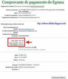 Comprovante de pagamento do Egrana, melhor programa de afiliados.