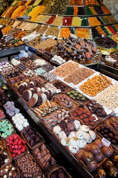 Delicious chocolate displays at La Boqueria in Barcelona, who wants to sample?