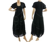096345c512 Lagenlook boho balloon dress with large pockets cotton in black M-L