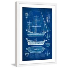 Bassett mirror antique ship blueprint i wall art from hayneedle ship blueprint i framed painting print malvernweather