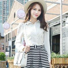 Luviz resorte nuevas mujeres OL de Corea del viajero de la blusa delgada de la camisa del cordón blanco de manga larga -tmall.com Lynx