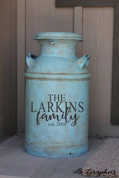 Stanley Family Name Milk can decal farmhouse decor monogram decal Vinyl decal for milk can monogram initial monogram decal entryway decor Decal Sticker in Wall Stickers & Murals. Home Crafts, Diy Home Decor, Milk Can Decor, Painted Milk Cans, Vintage Milk Can, Antique Milk Can, Old Milk Cans, Family Wall Decor, Boho Home