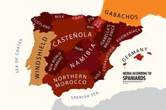Iberia According to Spain from the Atlas of Prejudice book by Yanko Tsvetkov presenting the Mapping Stereotypes project. Funny Maps, Spain Culture, Iberian Peninsula, Old Maps, One Liner, Historical Maps, Art Store, Spain Travel, Wedding Programs