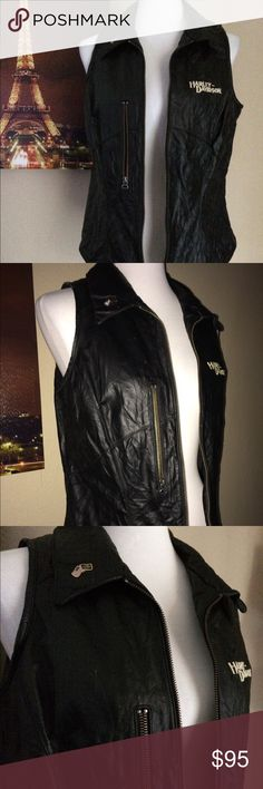 """Harley Davidson Leather Vest In Good condition. Pls see pics minor pill not obvious by right end of shoulder sleeve, little spots & wrinkle. Bust 20"""". Length 24"""". Genuine Leather Harley Davidson Women's Vest. Harley-Davidson Jackets & Coats Vests"""