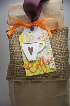 Coffee tag using Simon Says Stamp October Card kit, Verve and PTI dies, May Arts Ribbon