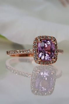 Lavender Peach Cushion color change Sapphire ring rose gold ring diamond ring Engagement R Ring Rosegold, Rose Gold Diamond Ring, Pretty Rings, Beautiful Rings, Color Change Sapphire, The Bling Ring, Little Presents, Ring Verlobung, Hand Ring
