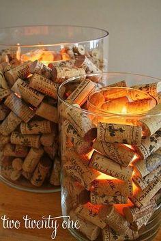 tappi di sughero come decorazione per portacandele shabby chic country provenzali