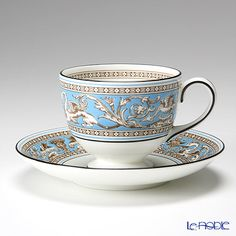 Wedgwood Florentine turquoise tea cup and saucer (Lee)